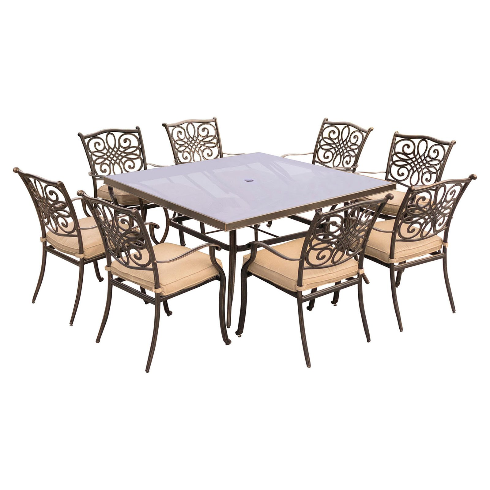 """Hanover Outdoor Traditions 9-Piece Dining Set with 60"""" Square Glass-Top Table, 8 Stationary Chairs and Umbrella with Stand, Natural Oat"""