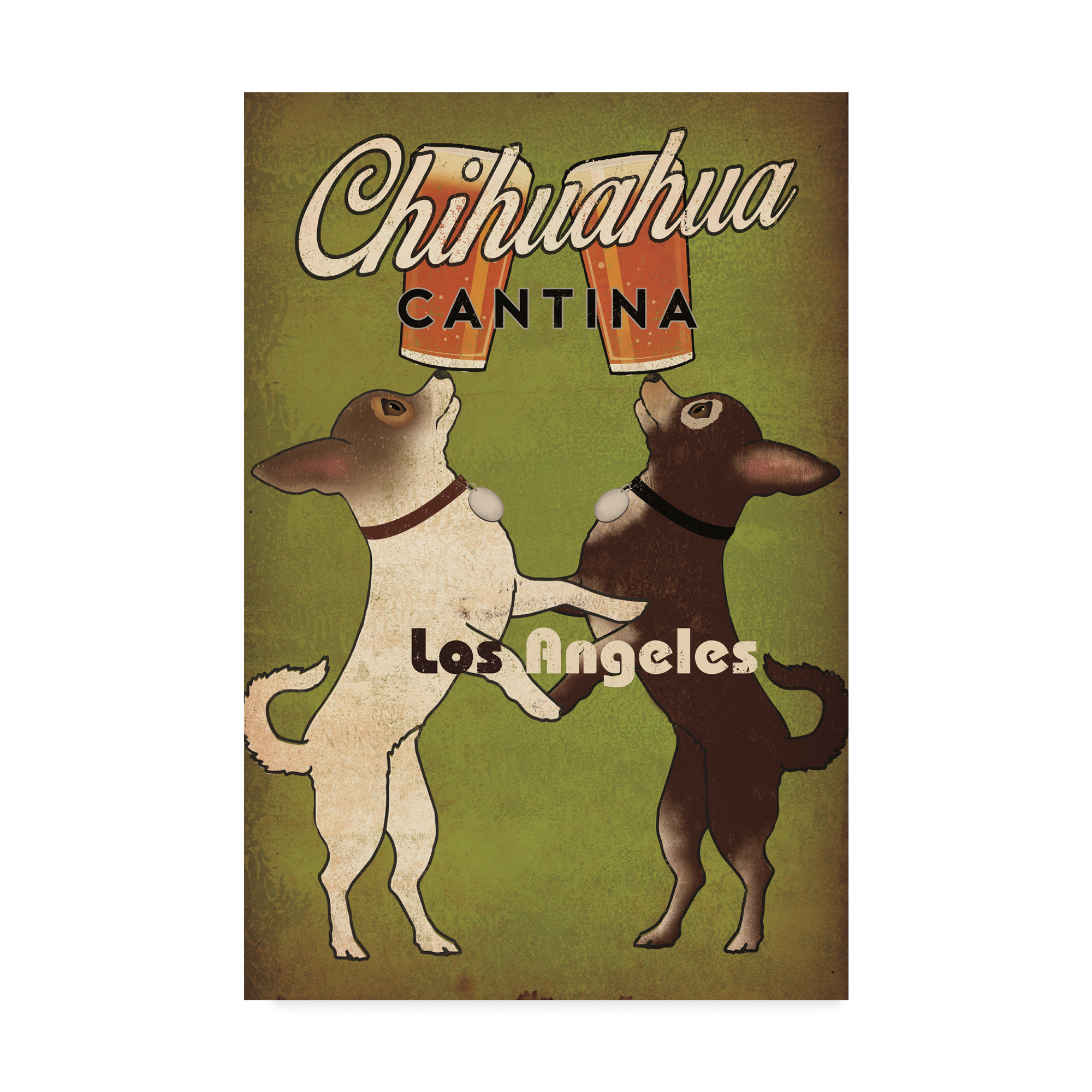 Trademark Fine Art 'Double Chihuahua Los Angeles' Canvas Art by Ryan Fowler