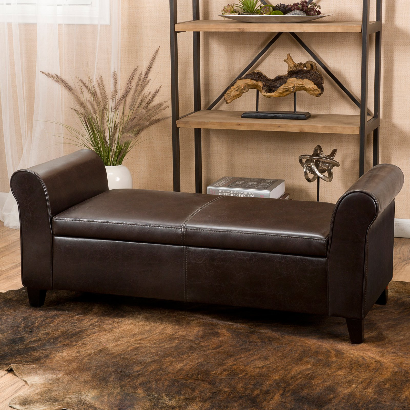 Charmant Martin Faux Leather Bedroom Bench With Storage