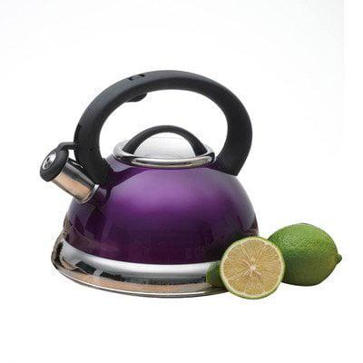 Creative Home Alexa Stainless Steel Whistling Tea Kettle, Purple, 3.0 Quart