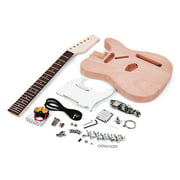 Muslady Unfinished Electric Guitar DIY Kit TL Tele Style Mahogany Body Maple Wood Neck Rosewood Fingerboard