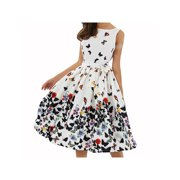 Womens Cap Sleeve Vintage Style 1950s Rockabilly Cocktail Party Swing Dresses