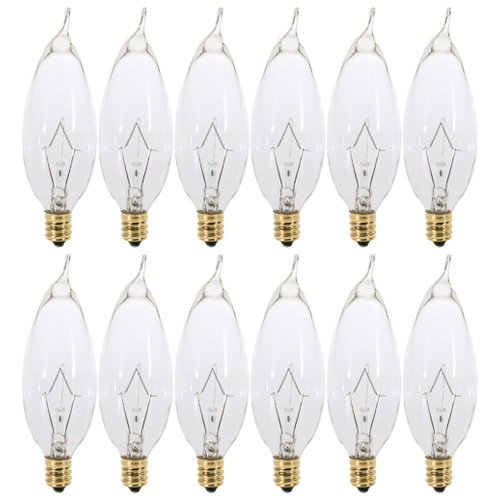(12 Pack) 40 Watt Clear Flame Shaped Incandescent Light Bulb, Candelabra Base