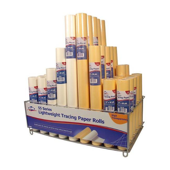 50 yd ALVIN 55Y-R Lightweight Yellow Tracing Paper Roll 48 x 50yd