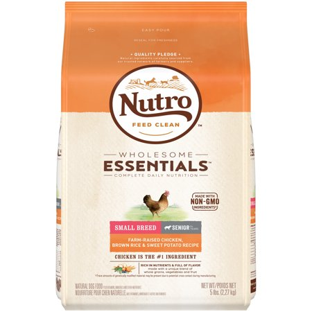 NUTRO WHOLESOME ESSENTIALS Senior Small Breed Dry Dog Food Farm-Raised Chicken, Brown Rice & Sweet Potato Recipe, 5 lb. (Best Dry Dog Food For Dogs With Food Allergies)