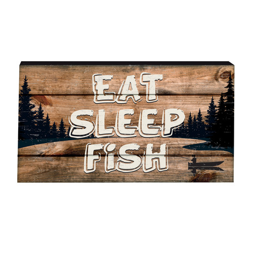 Prinz 'Eat Sleep Fish' Box GraphicArt Plaque