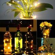 US-STOCK 2m 20 LED Mini Bottle Stopper Lamp String Bar Decoration String Light Warm White Light Earth Yellow