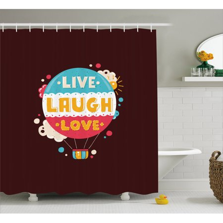 Love Shower Curtain Colorful Hipster Hot Air Balloon With Live Laugh Phrase Cheerful Fun