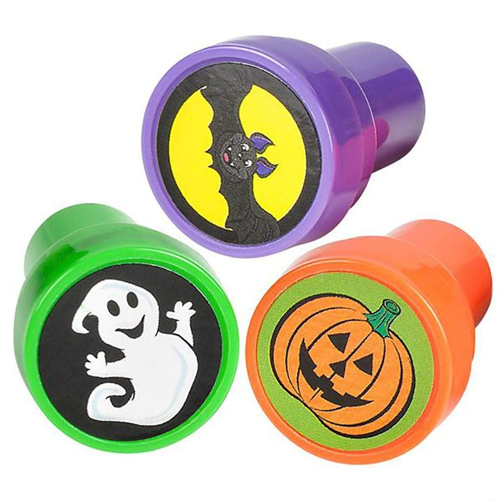 DIY Activities Assorted Spooky Design Prints Halloween Stampers - Perfect for Letters Scrapbooks Pumpkin, Bat, Ghost Pack of 24 Pre-Inked Stamping Tool for Kids Decorations and Party Giveaways