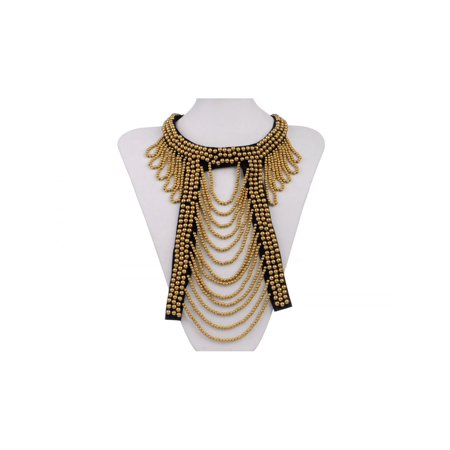 Tribal and Ethnic Golden Round Beads Cut Out Design Bib Necklace