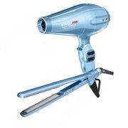 BaByliss Pro Nano Titanium Blue Portofino Dryer & Ultra-Thin Flat Iron Set