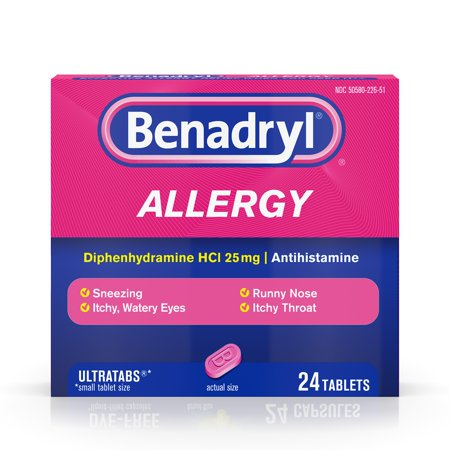 Benadryl Ultratab Antihistamine Allergy Medicine Tablets  24 Count
