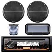 "JVC KD-R99MBS In-Dash Marine Boat Bluetooth Radio USB CD Receiver Bundle Combo With Pair Enrock EM602B 6.5"" Black Dual-Cone Stereo Speakers + Stereo Waterproof Cover + 18g 50FT Marine Speaker Wire"