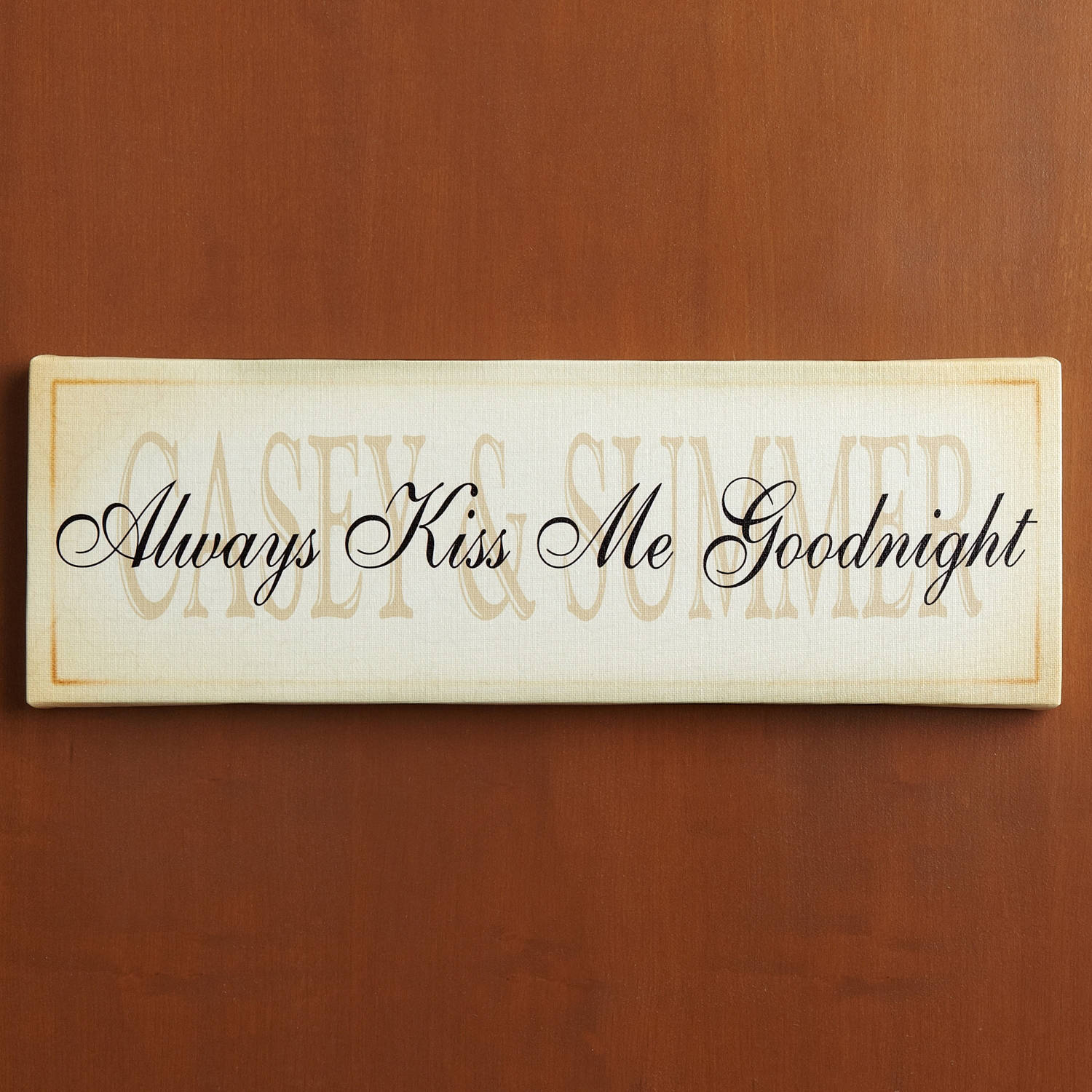 "Personalized ""Always Kiss Me Goodnight"" Canvas Wall Decor"
