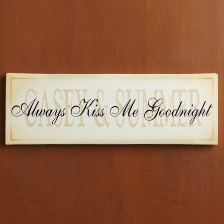 Personalized Always Kiss Me Goodnight Canvas Wall Decor