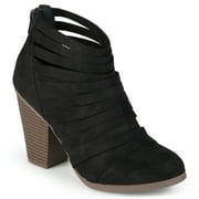 Womens Chunky Heel Strappy Faux Suede Ankle Booties