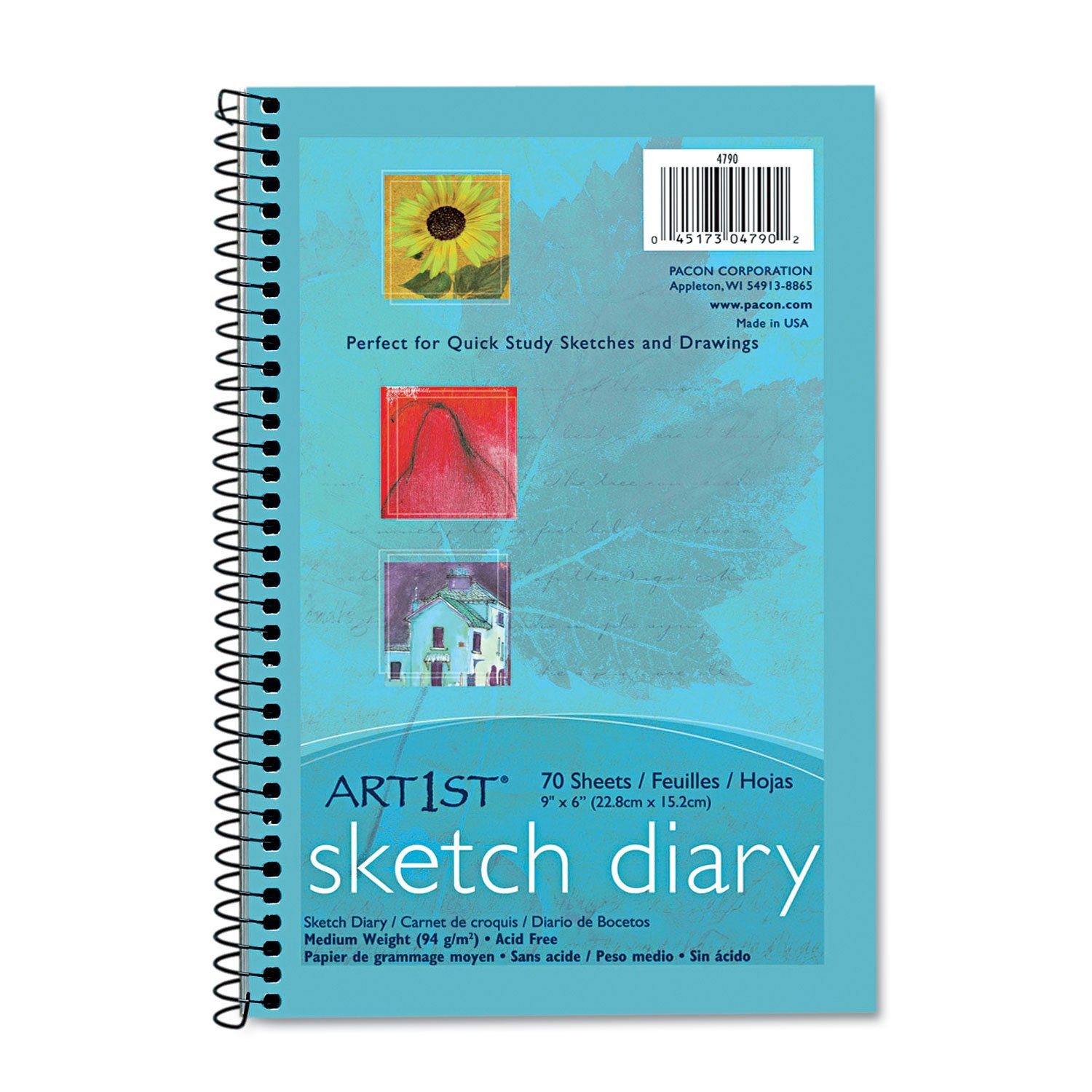 "Artist Sketch and Drawing Diaries (), 9"" x 6"", Sketch diary contains sulphite drawing paper that is ideal for all dry media By Pacon"
