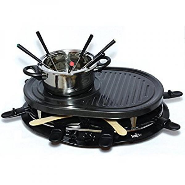 TOTAL CHEF Electric Griddle Fondue Pot with Thermostat Co...