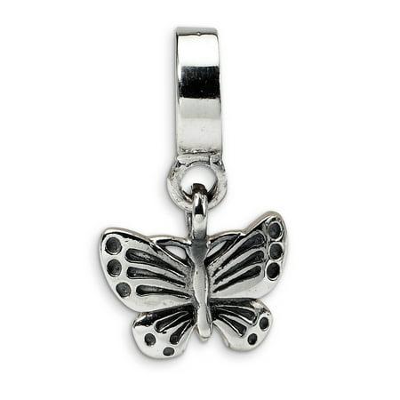 Lex & Lu Sterling Silver Reflections Butterfly Dangle Bead LAL6590
