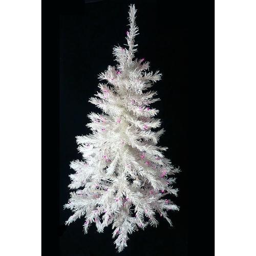 4.5' Pre-Lit White Artificial Christmas Tree - Purple Lights