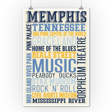 Memphis, Tennessee - Typography - Lantern Press Artwork (9x12 Art Print, Wall Decor Travel Poster)