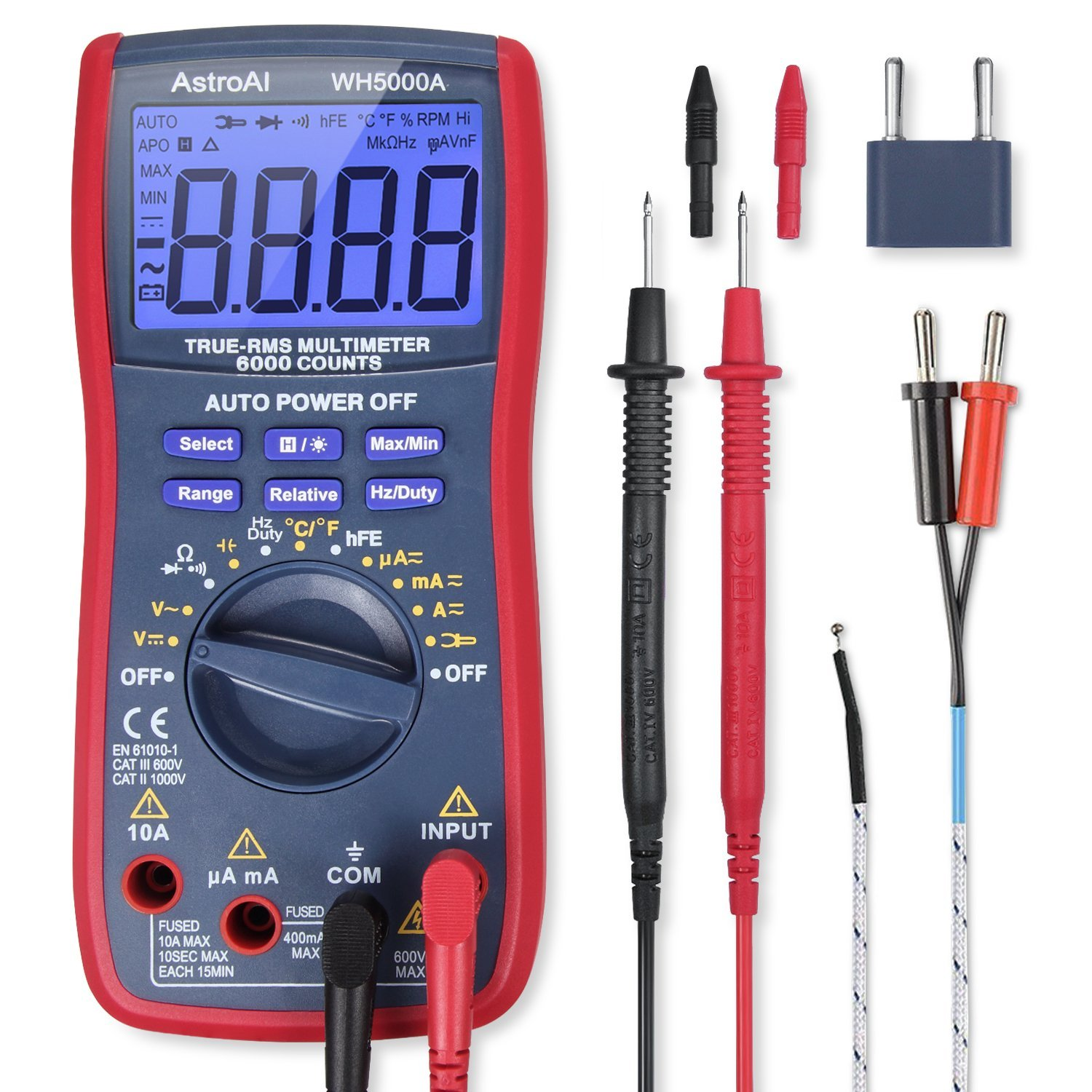 AstroAI Digital Multimeter, TRMS 6000 Counts Volt Meter Manual and Auto Ranging; Measures Voltage Tester, Current, Resistance, Continuity, Frequency; Tests Diodes, Transistors, Temperature, Red