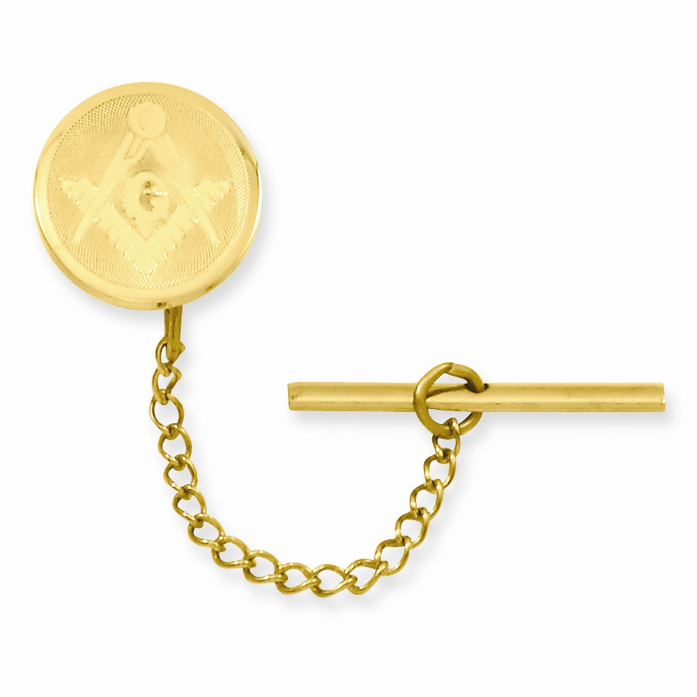 Gold-plated with Chain Masonic Tie Tack. Lovely Leatherrete Gift Box Included