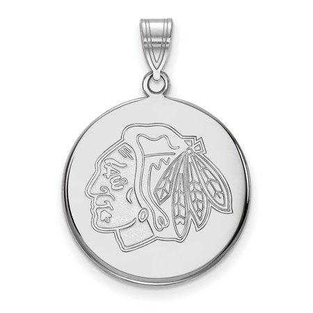 Chicago Blackhawks Large Disc Pendant In Sterling Silver 4 28 Gr