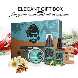 Men Beard Care Kit, Beard Care for Dry or Wet Beards, Beard Kit Includes: Beard Shampoo+Beard Oil+Beard Balm+Beard Comb, Beard Gift Set Best Gift for Men-Dad's Great