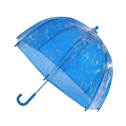 totes ISOTONER  Kids Vinyl Pinch-Proof Clear Bubble Umbrella, Blue