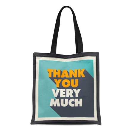 ASHLEIGH Canvas Tote Bag Vintage Thank You Retro Text Celebration Halloween Wedding Title Reusable Shoulder Grocery Shopping Bags - Halloween Main Titles