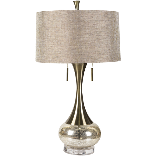 33 Glittering Gold Glass Table Lamp With Beige Modified Drum Shade