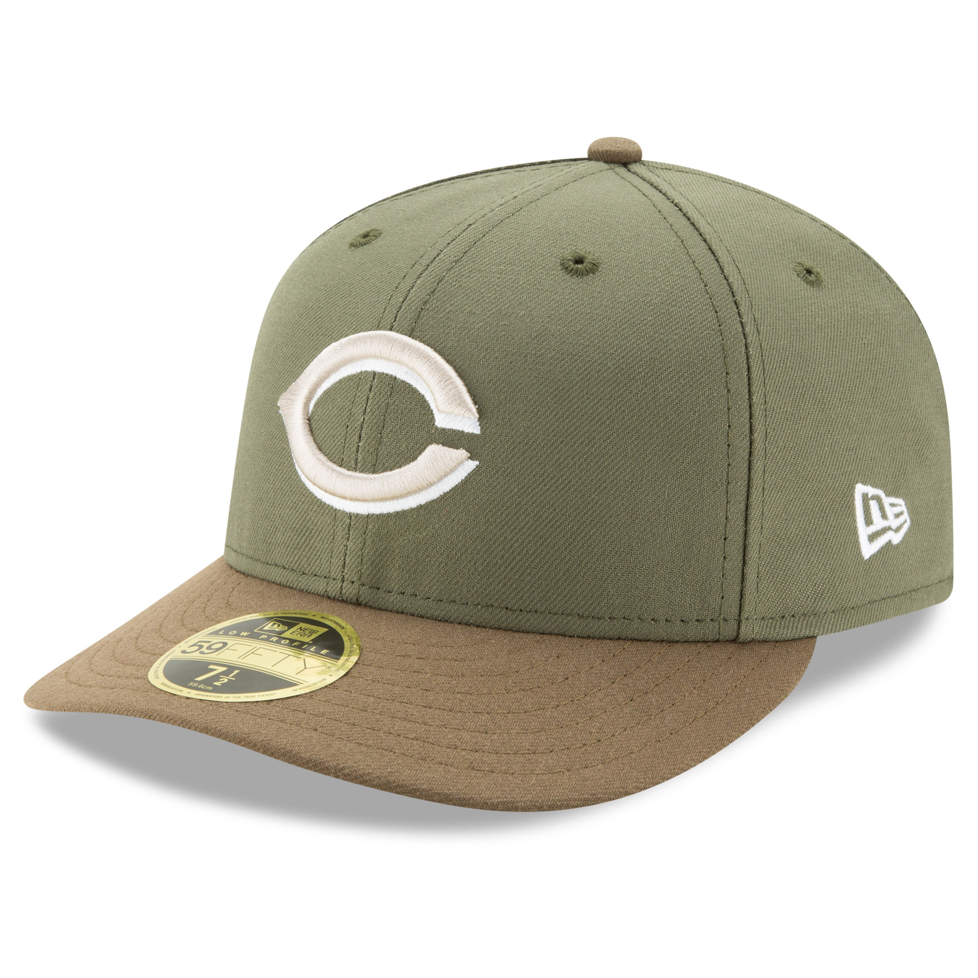 Cincinnati Reds New Era Alternate 2 Authentic Collection On-Field Low Profile 59FIFTY Fitted Hat - Olive/Brown