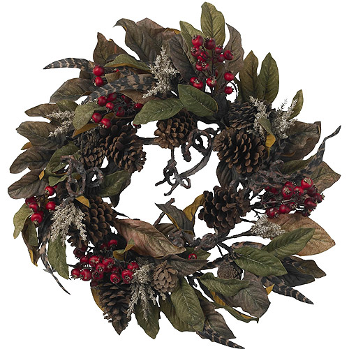 Pinecone, Berry and Feather Wreath