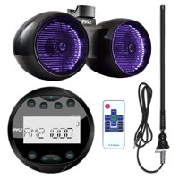 "Pyle PLMR91UB Waterproof Bluetooth Marine Gauge Style MP3 Media Receiver Bundle Combo With 6.5"" Inch 400 Watt Dual Wakeboard Multi Color LED Light Boat Tower Speakers + Enrock 22"" AM/FM Radio Antenna"