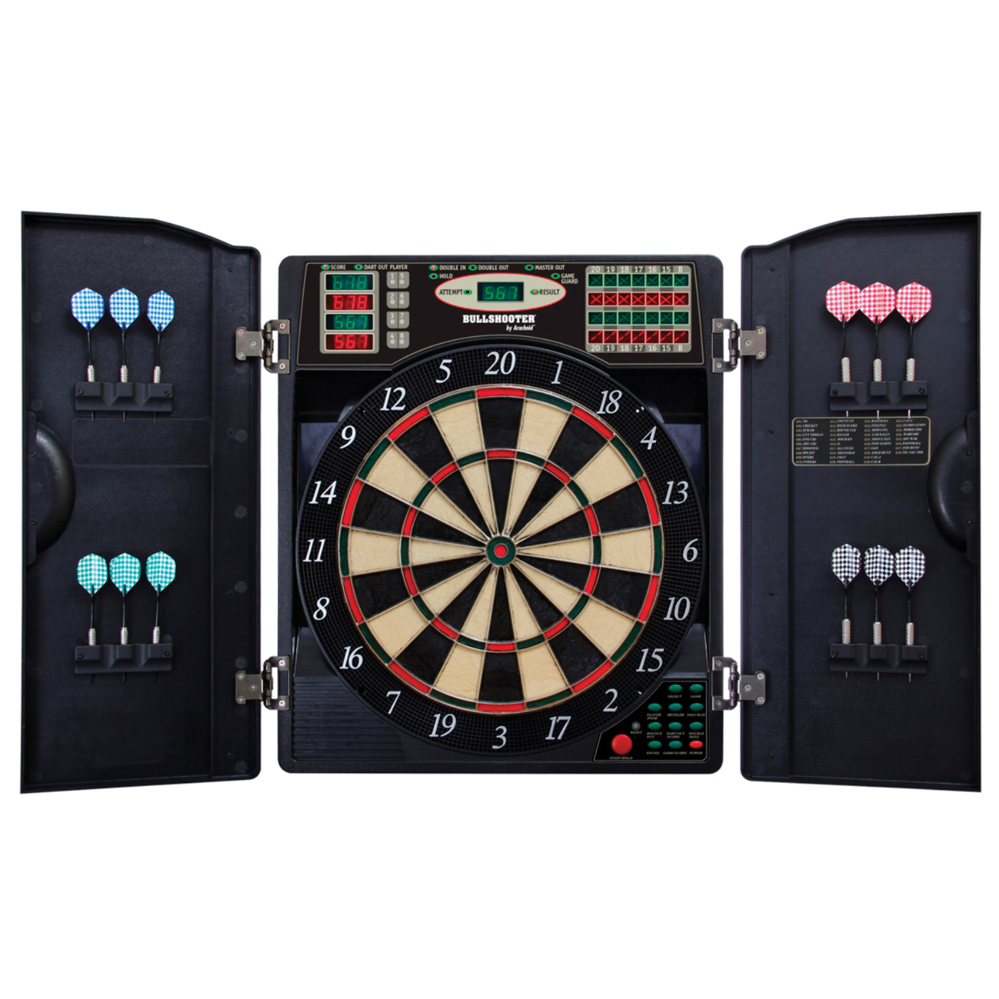 Bullshooter E-Bristle 1000 LED Electronic Dartboard Cabinet Set