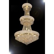 Gallery T40-646 Empire 24 Light 3 Tier Gold Crystal Chandelier - Gold