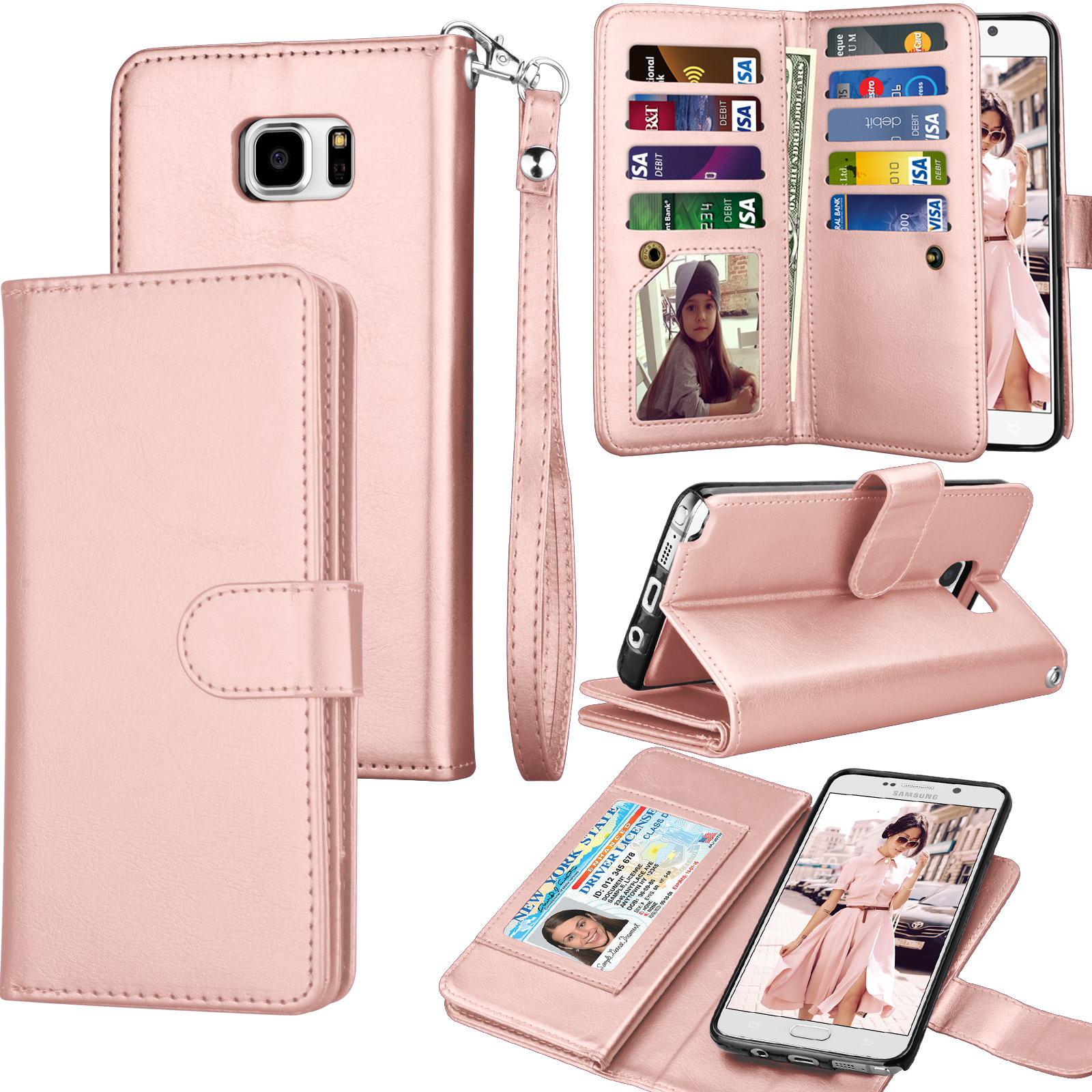 on sale da1a6 6c576 Galaxy Note 5 Case, Note 5 Wallet Case, Samsung Galaxy Note 5 PU Leather  Case, Tekcoo Luxury Cash Credit Card Slots Holder Carrying Flip Cover ...
