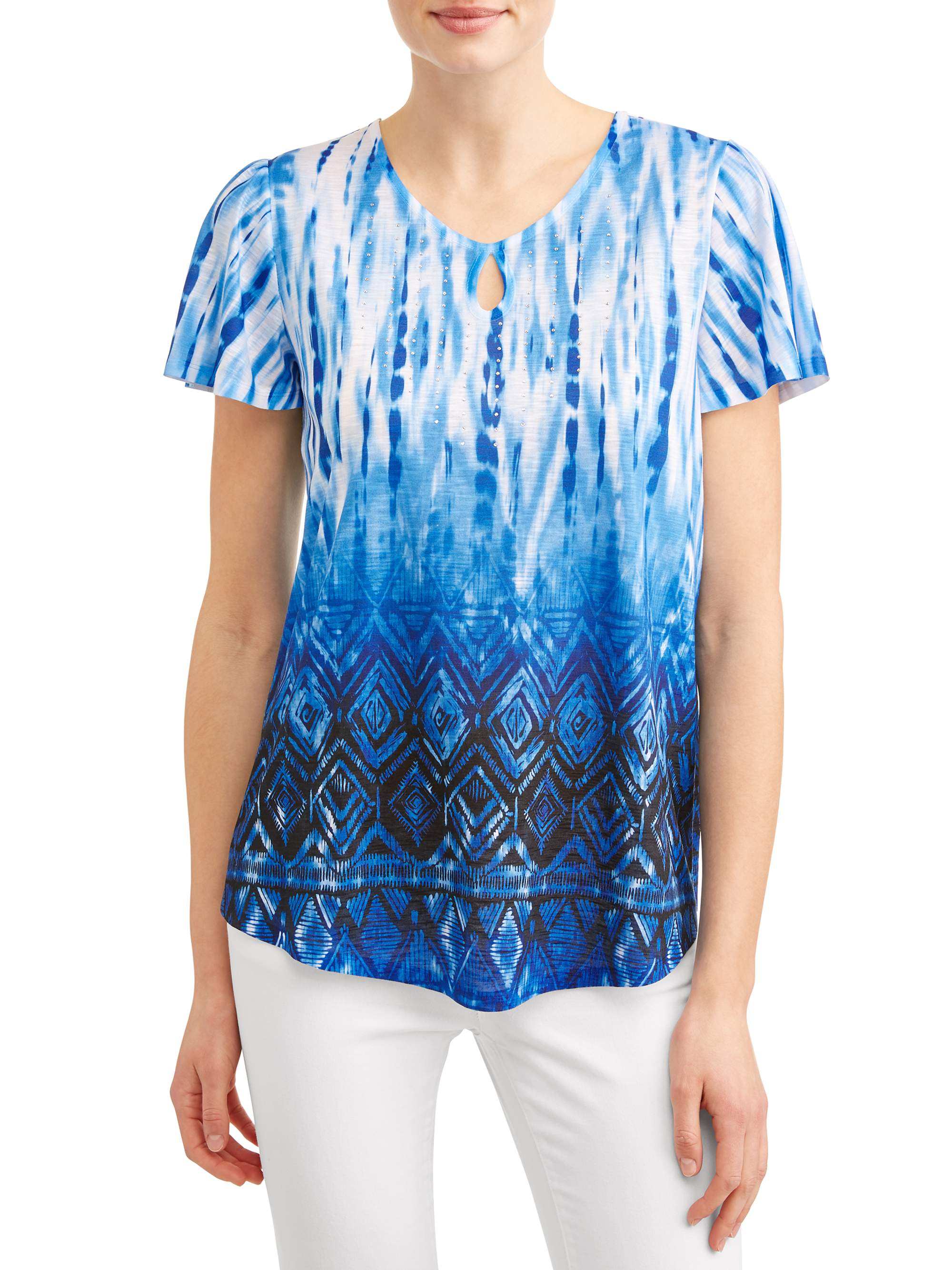 Women's Flutter Sleeve Keyhole Sublimation T-Shirt