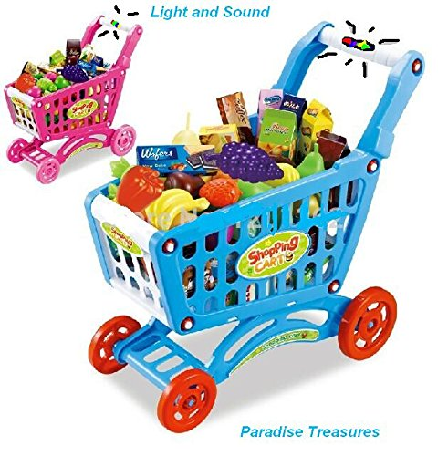 Blue Pretend Play Shopping Cart Toy For Kids With 3 In 1 Grocery Cart With  Light And Sound (78) Pc Grocery Set (US Seller)   Walmart.com