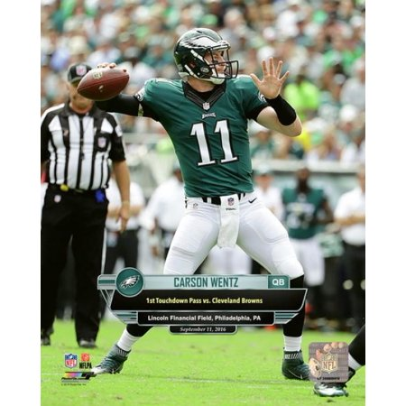 Carson Wentz First Career Touchdown Pass- September 11 2016 with Overlay Vertical Photo Print](Halloween Photo Overlay)
