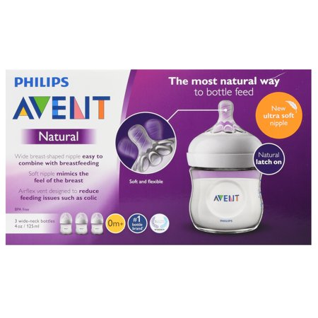 Philips Avent Natural Baby Bottle, Clear, 4oz, 3pk, SCF010/37