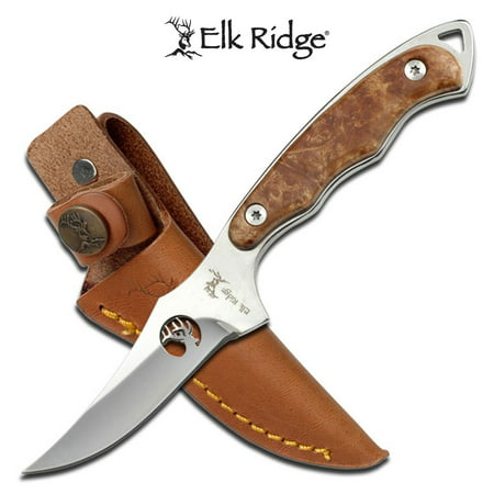 Elk Ridge - Outdoors Fixed Blade Knife - 7-in Overall, 2.75-in 440 Stainless Steel Blade with Mirror Finish, Maple Burl Wood Handle, Genuine Leather Sheath - ER-059 Cord Leather Knife