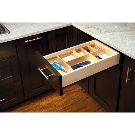 wood drawer organizers kitchen LD 4CT15 1 Small Adjustable Wood Drawer Organizer Kit 1 Wood Drawer Organizer Insert With 18 Divider Clips By Rev A Shelf