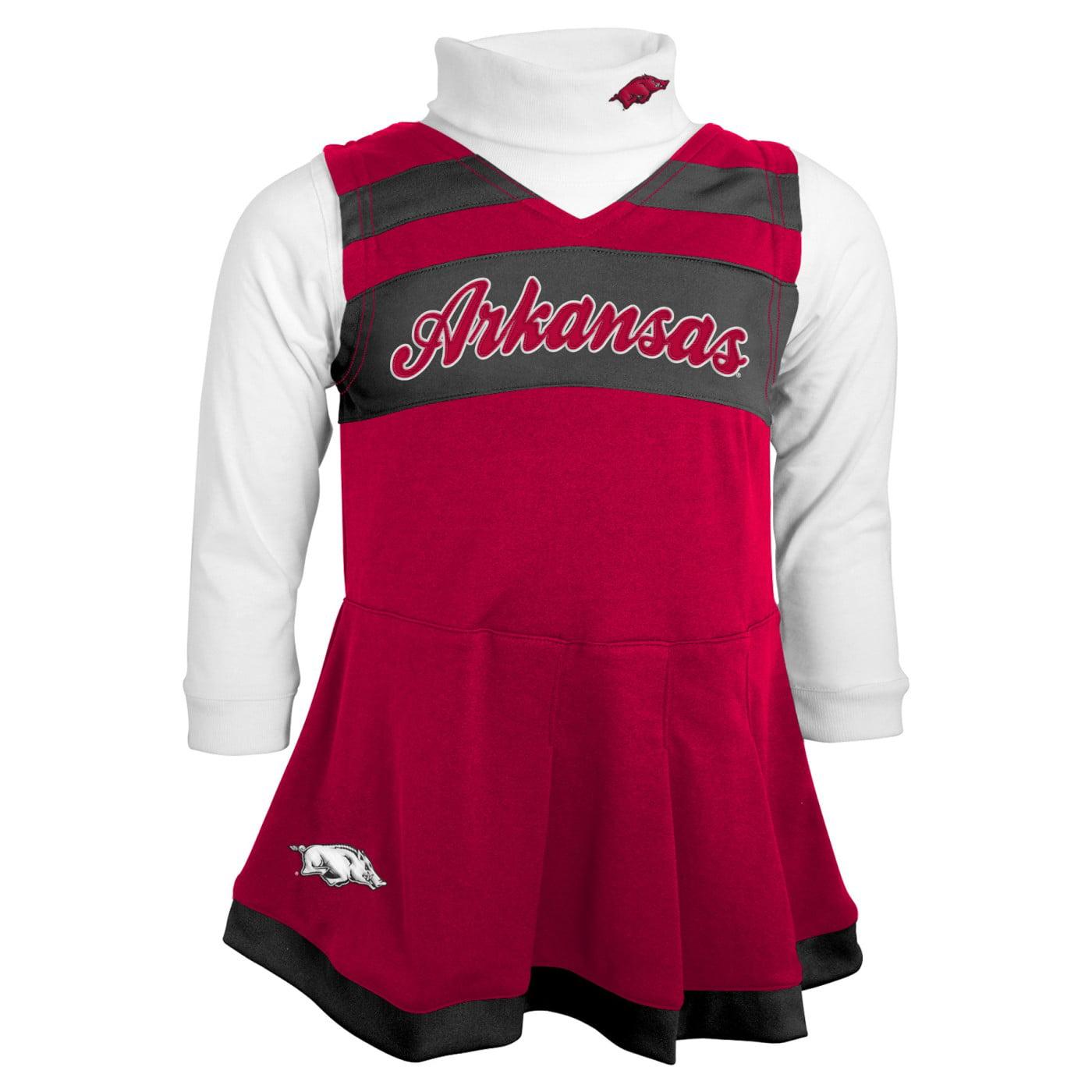 Arkansas Razorbacks NCAA Toddler Girls Cheer Jumper Dress Set w/ Turtleneck