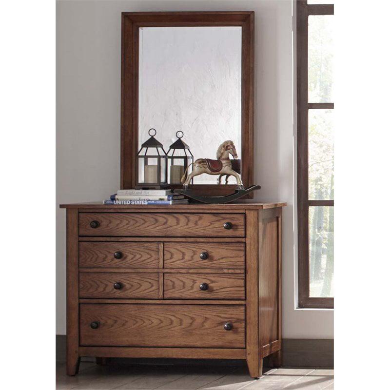 Liberty Furniture Grandpa's Cabin Dresser and Mirror Set in Aged Oak
