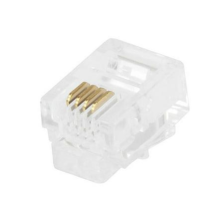 Rj11 Flat Cable (Monoprice 50-pcs RJ11 6P4C Plug for Flat Stranded)