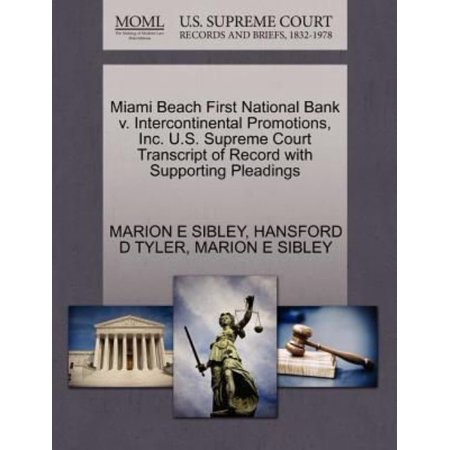 Miami Beach First National Bank V  Intercontinental Promotions  Inc  U S  Supreme Court Transcript Of Record With Supporting Pleadings