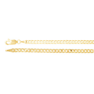 """14K Yellow 3mm Solid Curb 20"""" Chain by"""