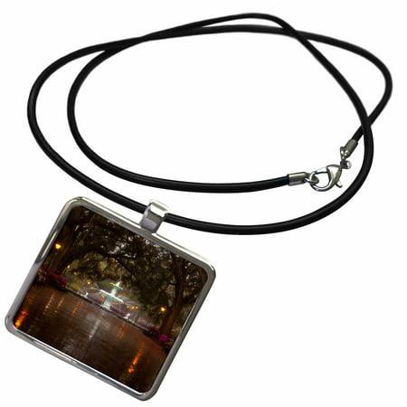 3dRose USA, Georgia, Savannah, Forsyth Park Fountain with spring azaleas. - Necklace with Pendant